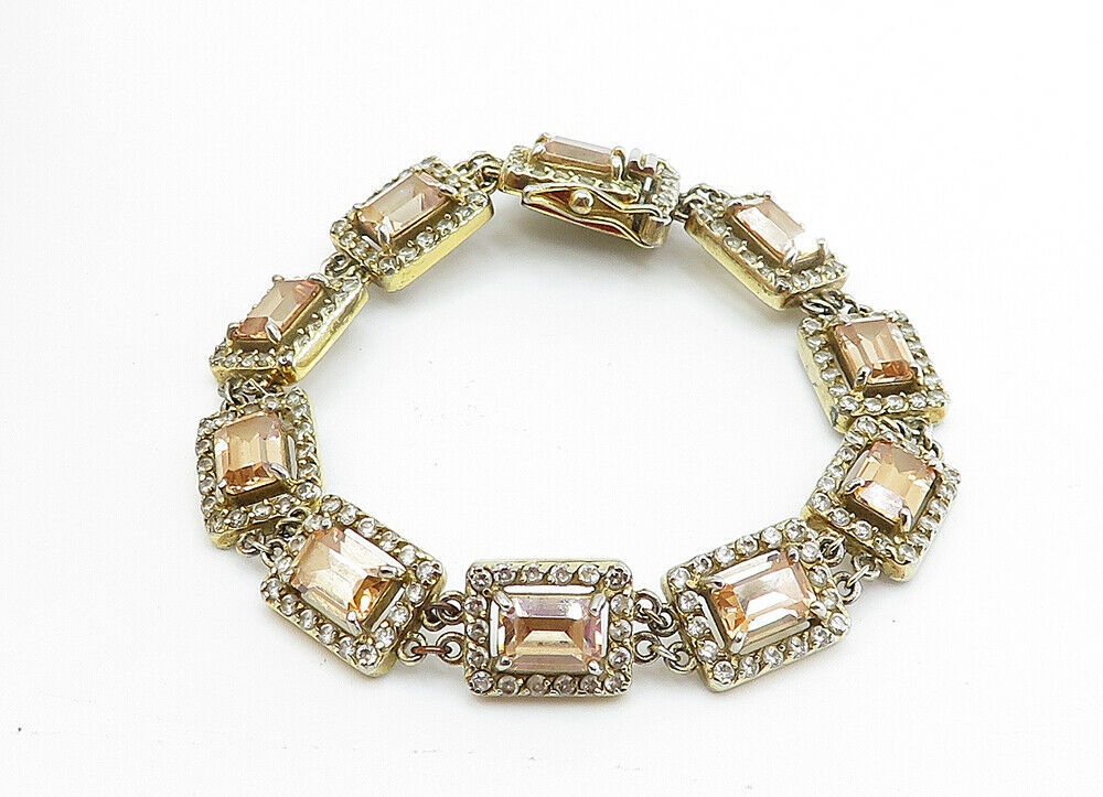 925 Sterling Silver - Vintage Imperial Topaz Gold Plated Chain Bracelet - B6064 image 2
