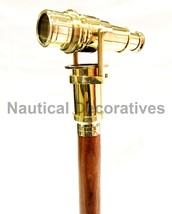 "Nautical Wooden Walking Stick Cane 38"" With Hidden Solid Brass Telescope  - $39.50"