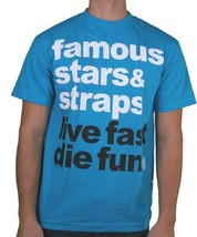 Famous Stars & Straps Homme Turquoise Blanc Simple Live Fast Die Fun T-Shirt Nwt