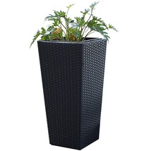 Tall Wicker Planter Indoor Outdoor Garden Stylish Standing Flower Plants... - $102.08 CAD