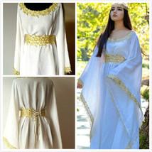 White Medieval Dress Celtic gown long sleeves renaissance costume for women - $129.00