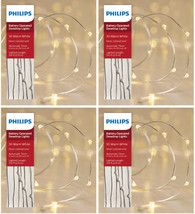 4x Philips 30ct Christmas Battery Op. LED String Fairy Dewdrop Lights Warm White