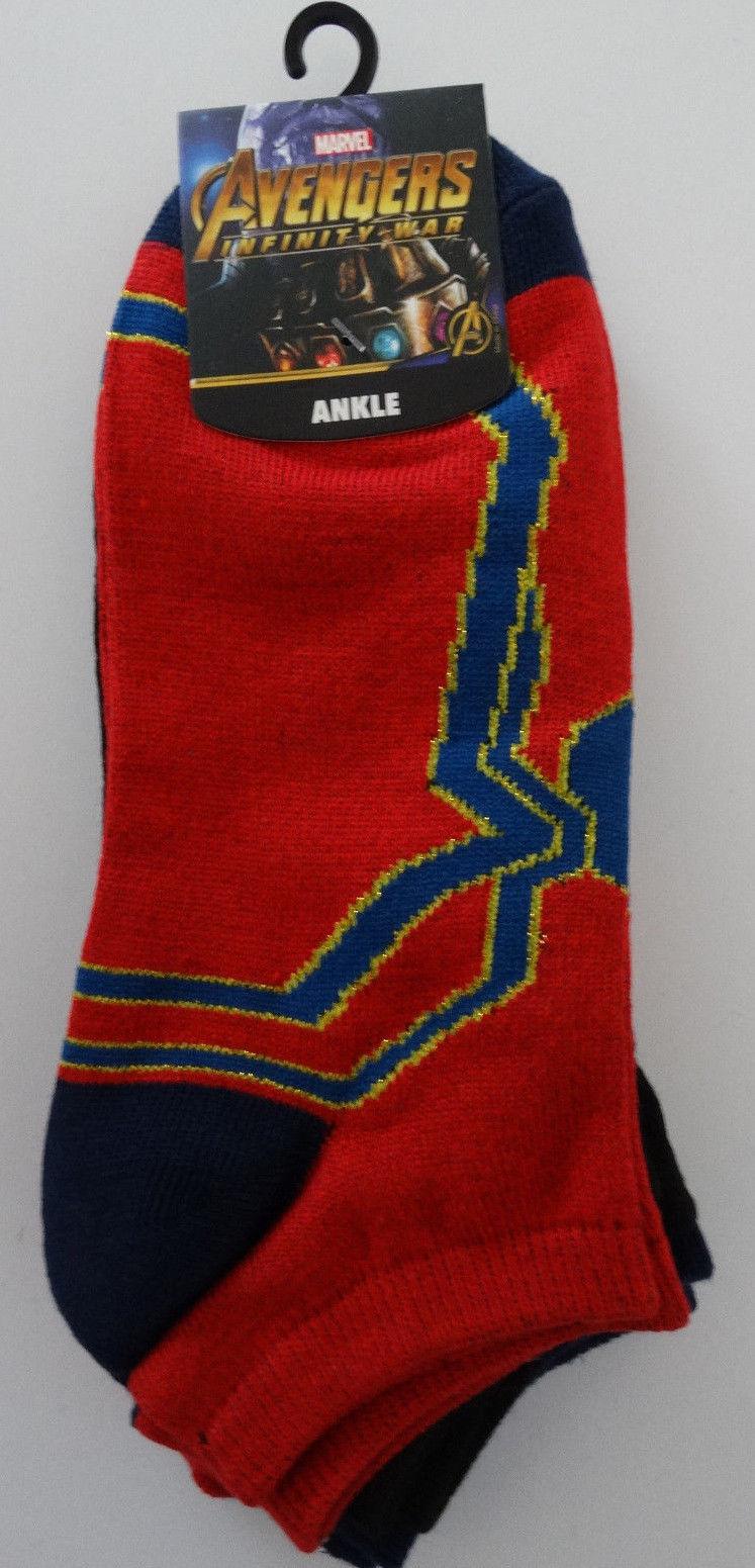 Avengers Iron Spider Spiderman Spider-Man Marvel Comics 3 Pack Ankle Socks Nwt