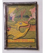 Vintage Fishing Dexterity Skill Puzzle Game Tin Glass circa 1940s - $24.95