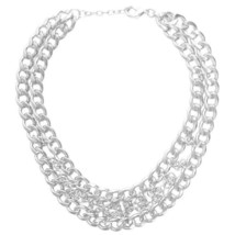 """Karine Sultan Matte Silver-Plate Curb Chain Statement Necklace 15"""" From France - $79.95"""