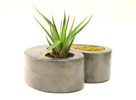 Double Concrete Planter Flower Pot Handmade Home & Garden Decor 2 Colors... - $39.95