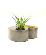 Double Concrete Planter Flower Pot Handmade Home & Garden Decor 2 Colors... - $53.94 CAD