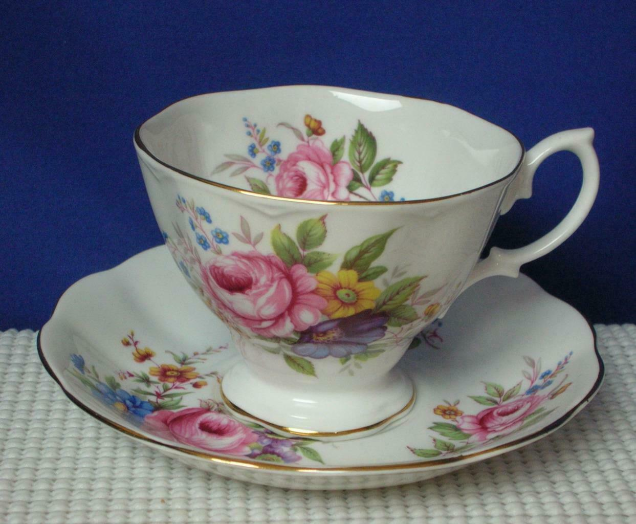 Primary image for Vintage TEA CUP & SAUCER Royal Albert PINK CABBAGE ROSES Blue Yellow Floral EUC