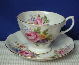 Vintage TEA CUP & SAUCER Royal Albert PINK CABBAGE ROSES Blue Yellow Flo... - $16.48