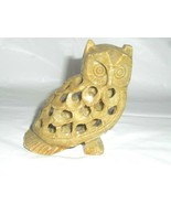 Hand Carved Soapstone Momma Owl Figurine With Baby Owl Inside Statue Bro... - $29.69