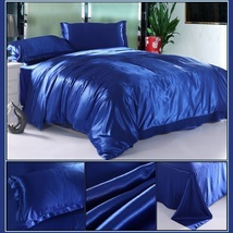 Luxury Sapphire Mulberry Silk Satin Top Sheet Duvet w/ 2 Pillow Cases 4 Pc Set