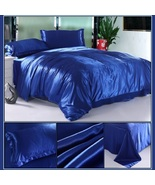 Luxury Sapphire Mulberry Silk Satin Top Sheet Duvet w/ 2 Pillow Cases 4 ... - $44.95+