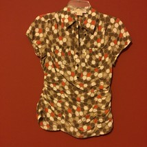 Michael Kors 2P Brown White Orange Polka Dot Ruched Silk Blouse Short PXS PS - $34.64