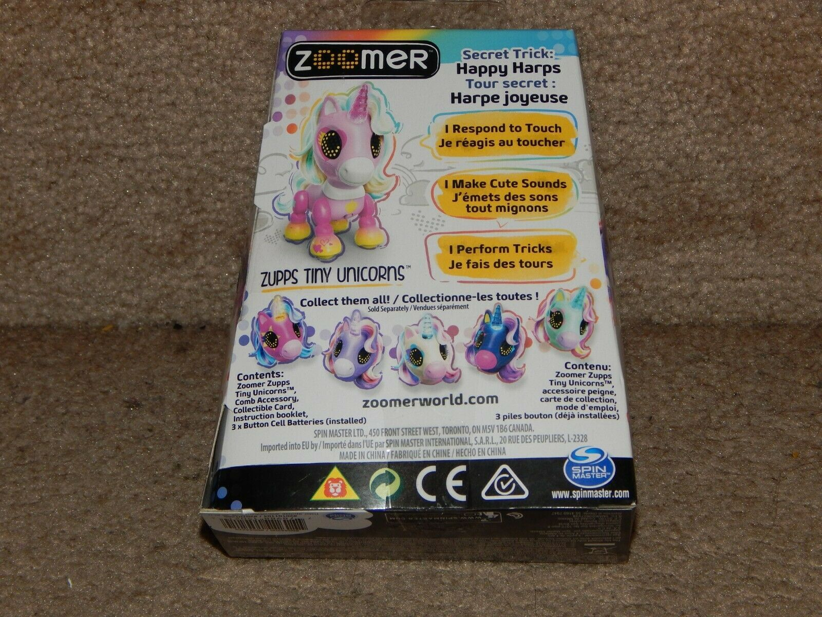 Zooner Zupps Tiny Light-Up Horn Unicorns Figure Charm 4+ Free Shipping