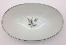Vintage Noritake Margot Oval Vegetable Bowl 5605 Pink Roses Platinum Tri... - $21.95