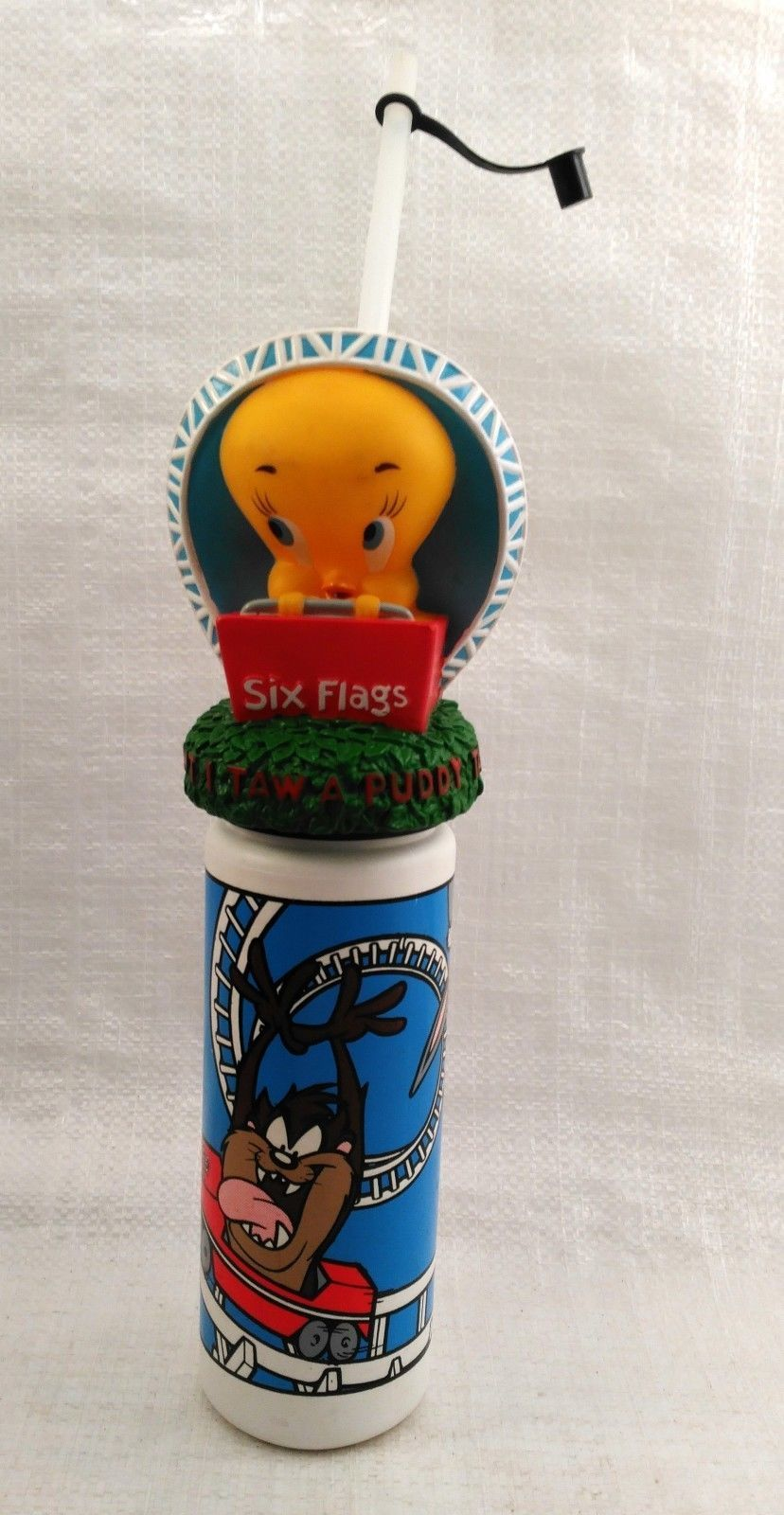 Six Flags Souvenir Tweety Bird Water Bottle W/ Taz and Sylvester