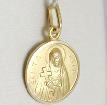 SOLID 18K YELLOW GOLD HOLY ST SAINT SANTA RITA ROUND MEDAL MADE IN ITALY, 13 MM image 2