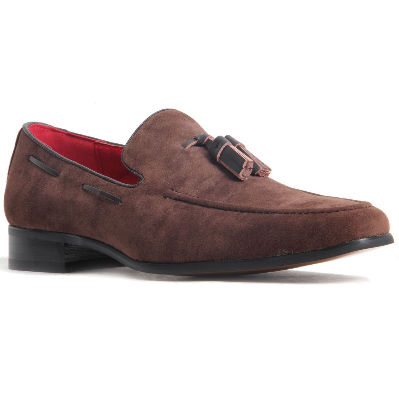Handmade Men's Suede Slip Ons Loafer Tassel Shoes
