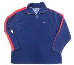 TOMMY HILFIGER Blue Outerwear Jacket Fleece Pullover 1/4 Zip Adult Size ... - $49.45