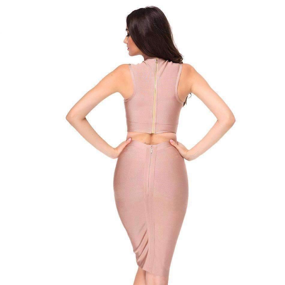 Sexy Two Piece Set Deep V-Neckline Women Bandage Dress