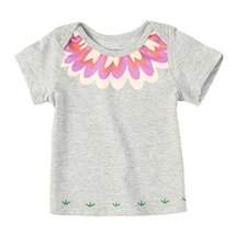 COLORFUL Floral Pure Cotton Infant Tee Baby Toddler T-Shirt GRAY 73 CM (6-12M)
