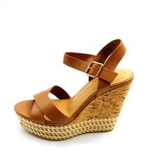 Bamboo Woman Choice Ankle Strap Platform Wedge High Heel Sandal Tan Sz 8... - $20.77