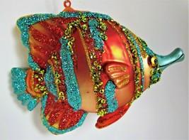 Mouthblown Handpainted Mercury Glass Coastal Tropical Fish Ornament 5.25... - $24.44