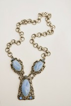 "Vintage 1950s Victorian Revival necklace large blue ""stones"" & rhineston... - $18.80"
