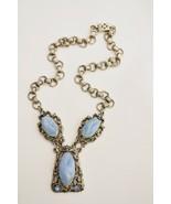 "Vintage 1950s Victorian Revival necklace large blue ""stones"" & rhineston... - $18.80"