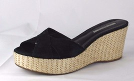 Via Spiga women's sandals platform wedge leather upper black slip on siz... - $17.59