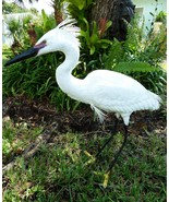 Snowy Egret with Plumage , 29 in. waterbird sculpture, art - $316.80