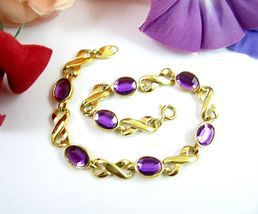 "AVON X's and O's PURPLE Oval Gems BRACELET Love Kisses Vintage Goldtone 8"" - $23.99"