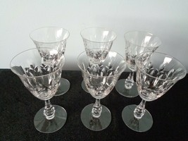 Set of 6 Rare Clear Crystal Etched  Ring Stemmed Brandy Goblets - $19.79