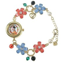 Disney store Snow White flower Bracelet watch beads Apple charm Bangle ... - $77.22