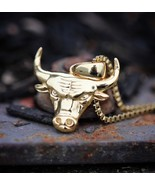 "Mens Mini Solid Gold Bull Hip-Hop Pendant 22"" Box Chain Necklace - £0.76 GBP"