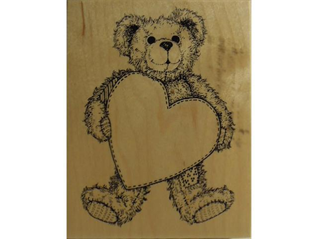 Vintage PSX 1995 Teddy Bear with Heart Rubber Stamp #K-1421