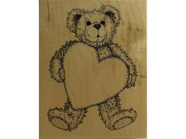 Vintage PSX 1995 Teddy Bear with Heart Rubber Stamp #K-1421 image 1