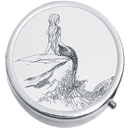 Primary image for Outline Drawing Mermaid Medicine Vitamin Compact Pill Box