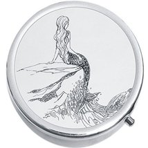 Outline Drawing Mermaid Medicine Vitamin Compact Pill Box - $9.78