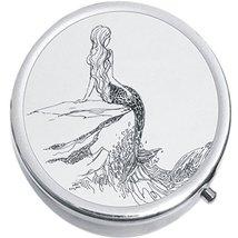 Outline Drawing Mermaid Medicine Vitamin Compact Pill Box - $9.78