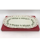 Royal Limited Holly Holiday Christmas Pierced Oval Canape Sandwich Tray ... - $39.95