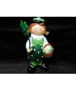 "Female Leprachaun Ceramic Holding Shamrock & Basket 5"" St. Patrick's Day - $10.84"