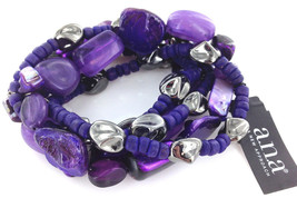 Ana Purple Iridescet Shell Beaded Multi Strand Stretch Bracelet Amy B42077 - $12.86