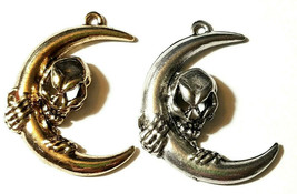 LARGE ALIEN / SKULL AND MOON FINE PEWTER PENDANT - 23mm x 30mm x 5mm image 1