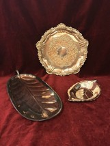 Vintage Copper Silver Plated Platter Candy Nut Dish Centerpiece 3 Pieces - $41.57