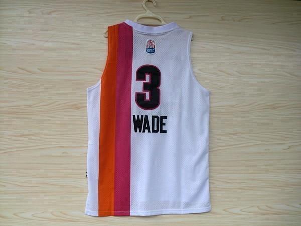 Men's Miami Heat #3 Dwyane Wade White Throwback Basketball Jersey for sale  USA
