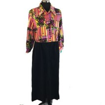 Vtg Op Art Groovy Rainbow Flower Power Velour Dress Mod Hostess Hippie X... - $48.51