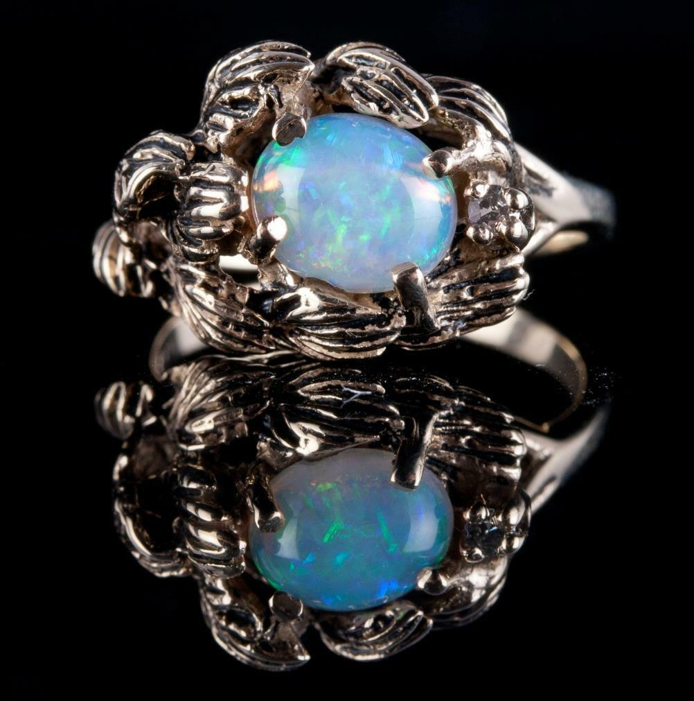 Primary image for Vintage 1960's 14k Yellow Gold Oval Cut Opal & Diamond Leaf Style Ring 1.14ctw