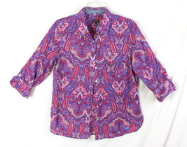Talbots Blouse 6 S size New Multi Color Paisley Lightweight button front Womens - $24.16