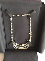 100% AUTHENTIC CHANEL CC LOGO MULTI CHAIN PEARL LONG NECKLACE GOLD LIMITED EDITI image 2